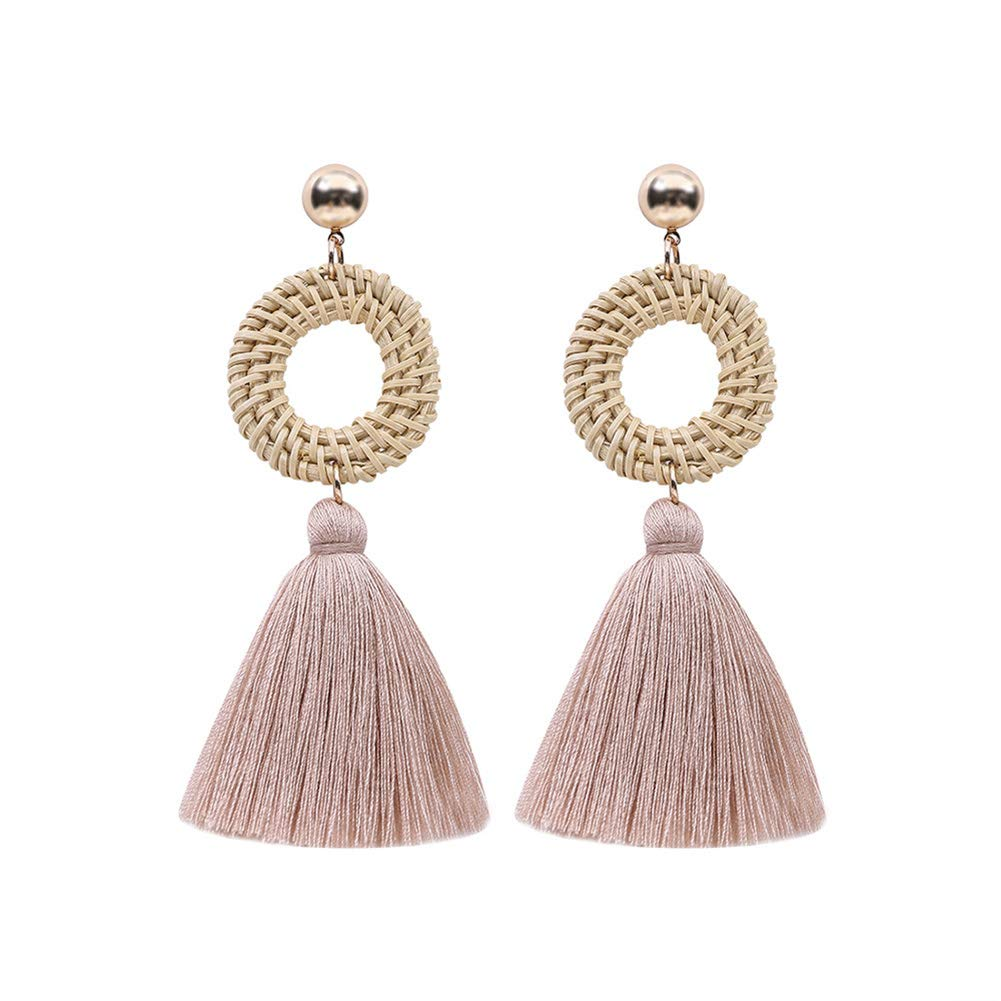 Boho Women Hollow Rattan Circle Cloth Tassel Dangle Long Stud Earrings Jewelry - Pink