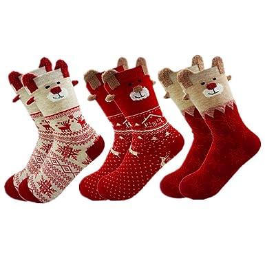 nouvelle arrivee 5d086 27a57 Lot de 3Paires Chaussettes noel Femme Chaussette Fille Cotton Chaude  Chaussette Laine épaisse Socks de Hiver Cadeau noel fete Anniversair