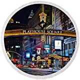 Pixels Round Beach Towel With Tassels featuring ''Playhouse Square'' by Frozen in Time Fine Art Photography
