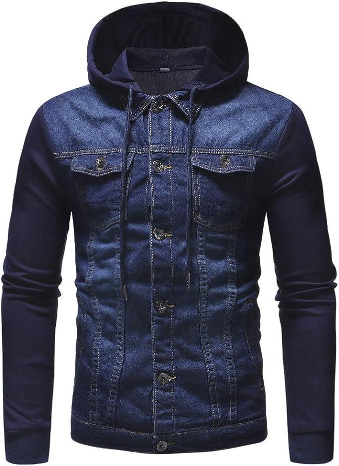 Geili Herren Jeansjacke Basic Stretch Große Größen Jeans Jacke Mit Kapuze Denim Jacket Hoodie Männer Herbst Vintage Slim Fit Mantel Sweatjacke