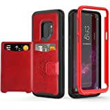 Galaxy S9 Case with Kickstand,SXTech (Leather Cover Series) Slim Yet Protective with Card Holders.Built-in Magnetic Backing Wallet Case Fit for Samsung Galaxy S9 5.8 Inch (2018) Cover-Red