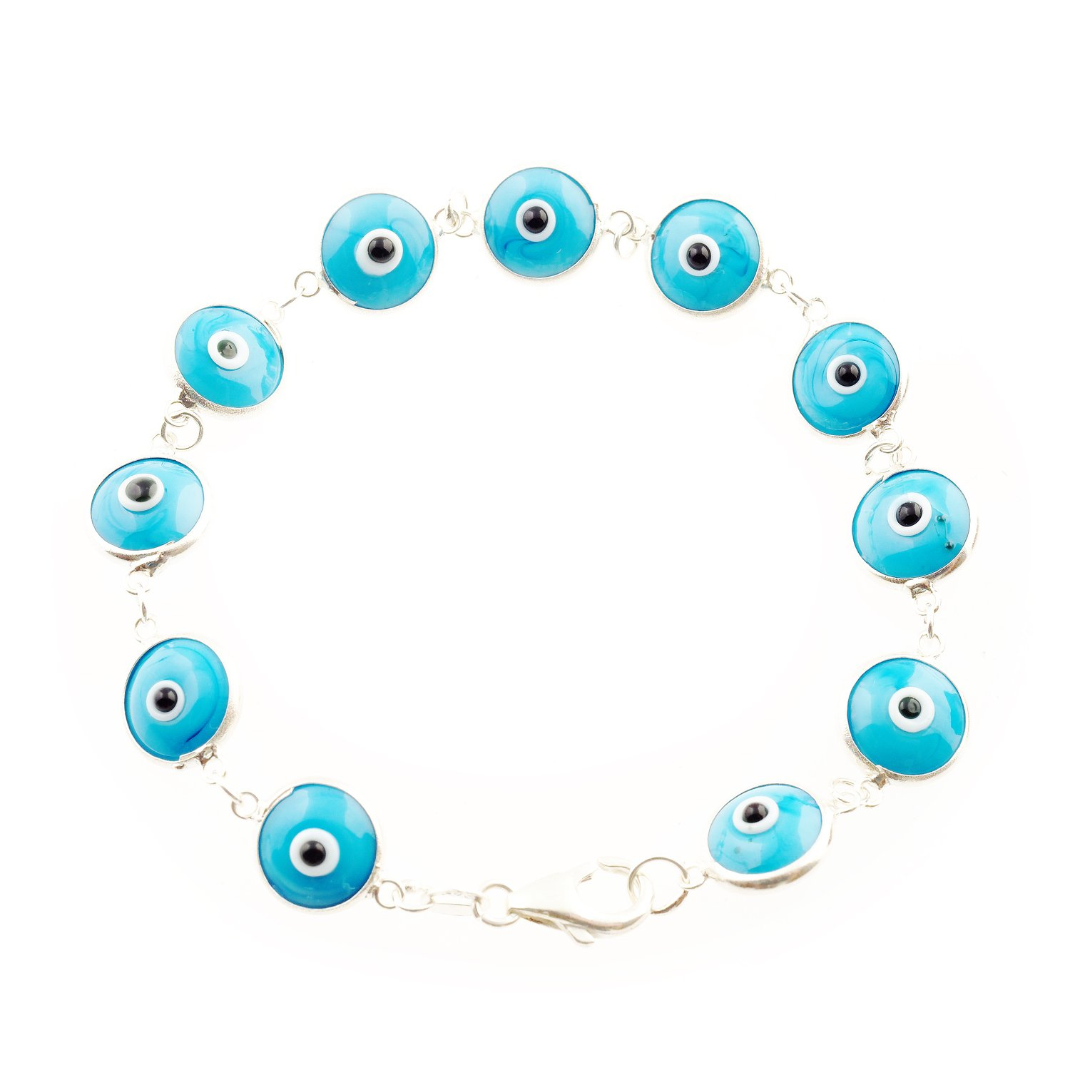 Love & Lucky Sterling Silver Evil Eye Bracelets, 7.5 inches (Turquoise)