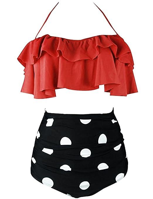 Vente À Bas Prix Meilleur Prix BaiShengGT Femme Vintage Polka Dot Taille Haute Bikini Halter Strap Maillots de Bain 2 Pièces Orange 3XL Meilleur Prix Bon Marché Prix boutique Pas Cher k4YqTbzwlh