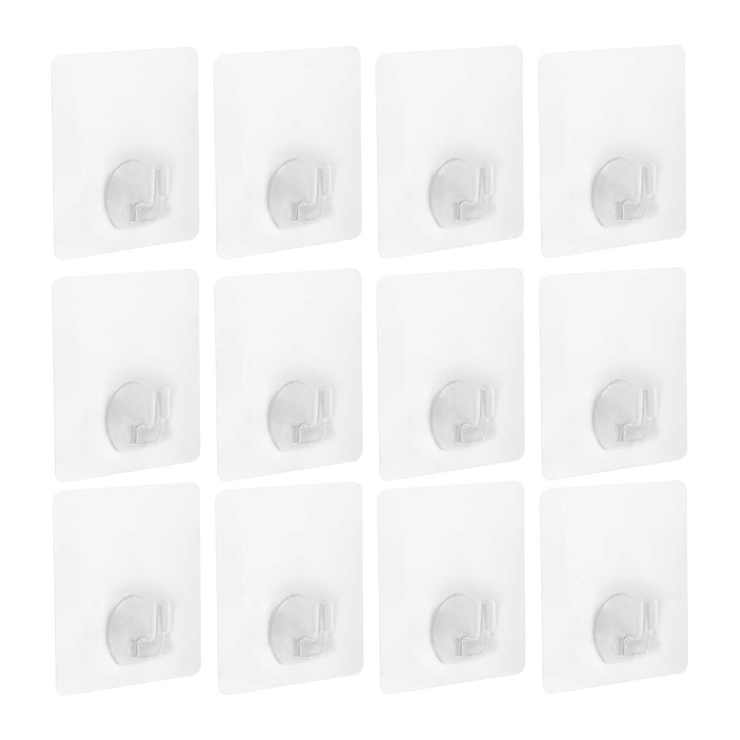 Nail Free Hook Elongdi Transparent Adhesive Hooks 12 Pack No Scratch Wall Hooks Waterproof and Oil proof for Wall and Ceiling