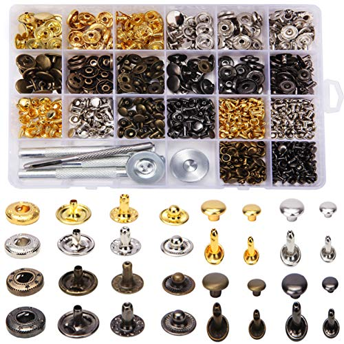240 Set Snap Fastener Kit and Leather Rivets Double Cap Kit with 6 Pcs Fixing Tools Including 180 Set Rivet Tubular Metal Studs and 60 Set Leather Snaps Button Kit for Leather, Coat, Jacket, Jeans,bag ()