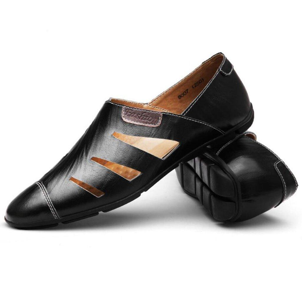 GAOLIXIA Männer echtes Leder Breathable Slip On Sandalen Sommer hohl Freizeitschuhe Peas Schuhe Faule Schuhe schwarz blau braun große Größe 37-47