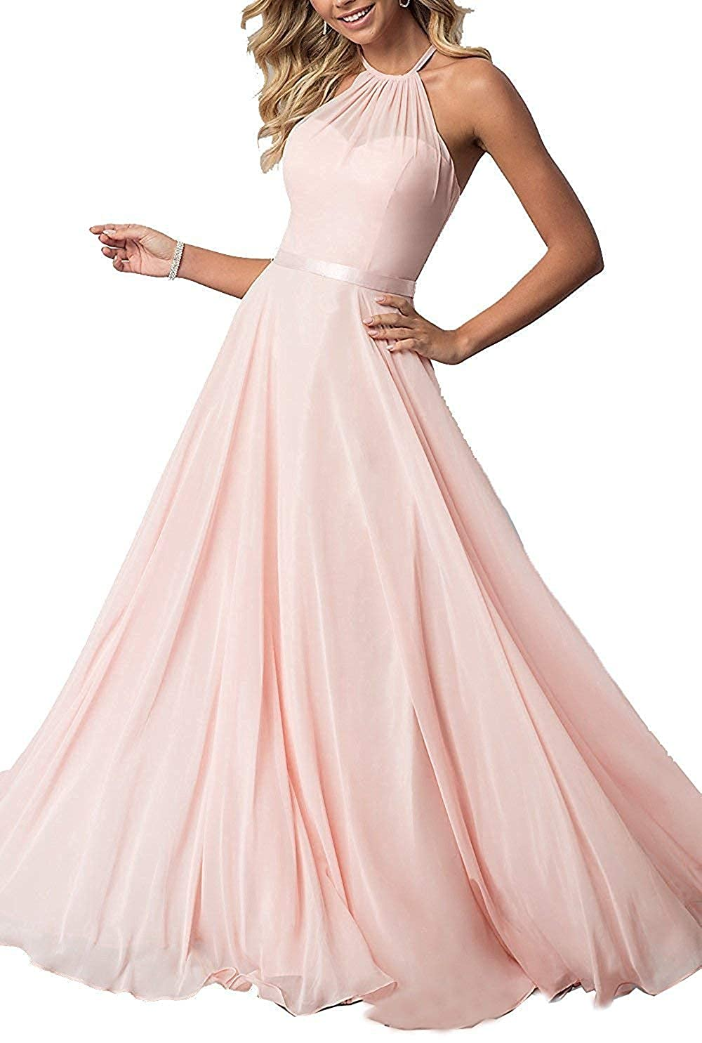 Baby Pink ROMOO Sexy Halter Long Bridesmaid Dresses Open Back Aline Formal Evening Party Gowns