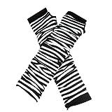 Gleader Stylish Winter Warm Black White Striped Long Fingerless Gloves