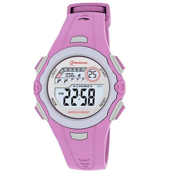 Reloj Concept - Reloj digital Mujer/Niño - Correa Plástico Púrpura - Esfera Redondo Fondo Gris - Marque Mingrui - mr8550-violet: Amazon.es: Relojes