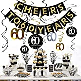 JeVenis 60th Birthday Party Decorations KIT - Cheers to 60 Years Banner, Sparkling Celebration 60 Hanging Swirls, Perfect 60 Years Old Party Supplies 60th Anniversary Decorations