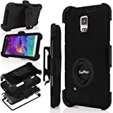Note 4 Case, Galaxy Note 4 Case, Hinpia [Seaplays] Shockproof Hybrid Rugged Samsung Galaxy Note 4 Case Rubber Three Layer Holster Cover Case for Samsung Galaxy Note 4 with Built-in Rotating Stand and Belt Swivel Clip (Black)