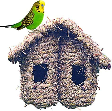 バードハウス 鳥の家 鳥の飼育ボックス 二重傾斜屋根 わら草織り 腐敗防止 鳥の巣箱 ハミング鳥 レンレンスズメツバメ小鳥 野鳥の巣箱 鳥の隠れ家遊び場寝床