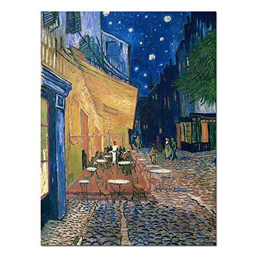Wieco Art Cafe Terrace at Night Canvas Prints Wall Art by Van Gogh Classic Oil Paintings Reproduction Large Gallery Wrapped Cityscape Picture Giclee Artwork for Dining Room Home Office Decorations