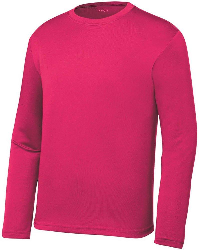 e745b9dfd23f Galleon - DRI-EQUIP Youth Long Sleeve Moisture Wicking Athletic Shirts ,L-Raspberry