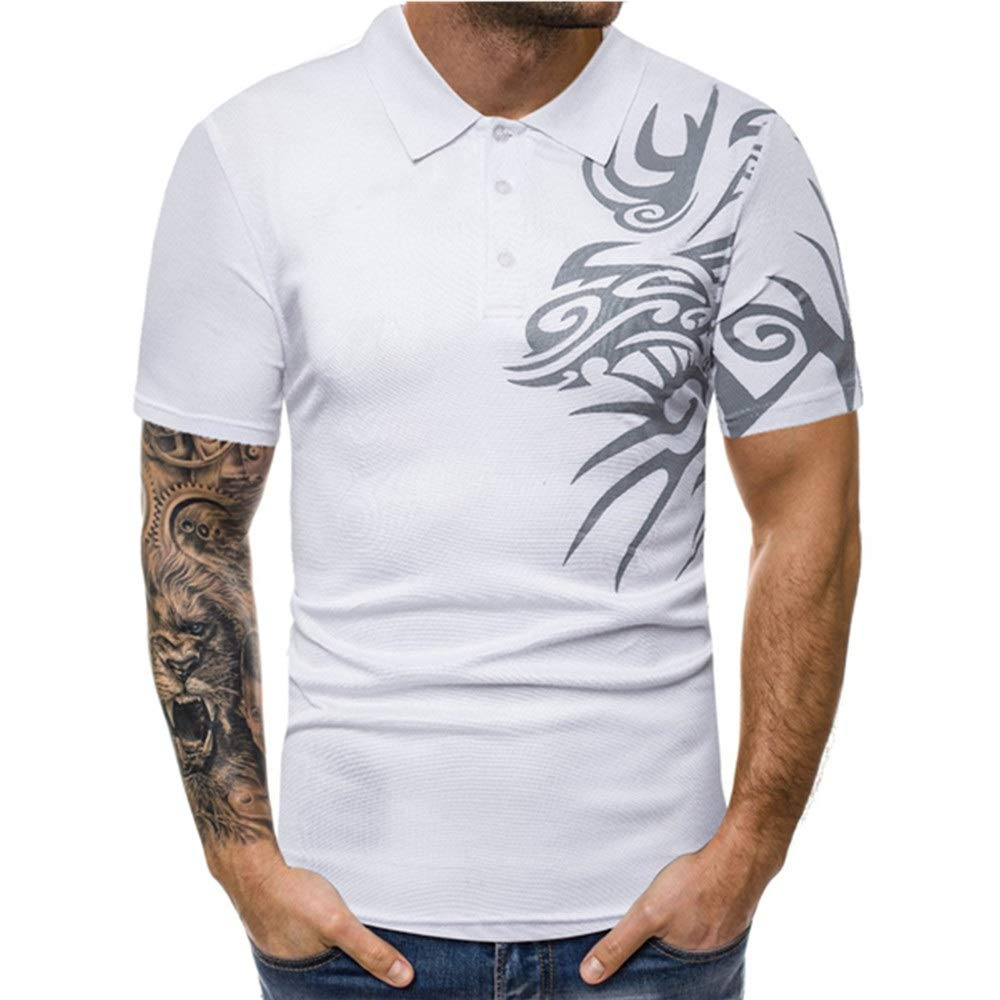 DKDUVQ Casual T-Shirt Mens Pattern Printed Short-Sleeved T-Shirt