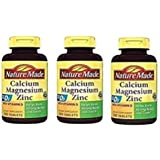 Nature Made Calcium Magnesium Zinc Tablets with Vitamin D, 200 Count (3 Pack)
