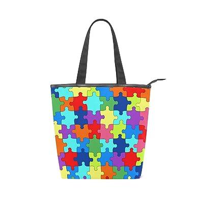Amazon.com: Bolso de lona con asa superior y puzle colorido ...