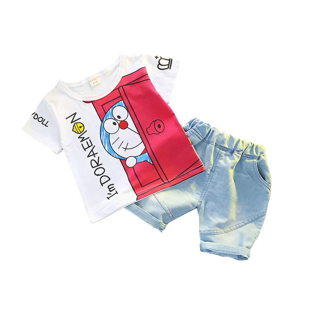 Ni/ños Doraemon Camiseta Pantalones Cortos Conjunto Ropa Beb/é Verano Manga Corta T-Shirt Tops y Pantalones