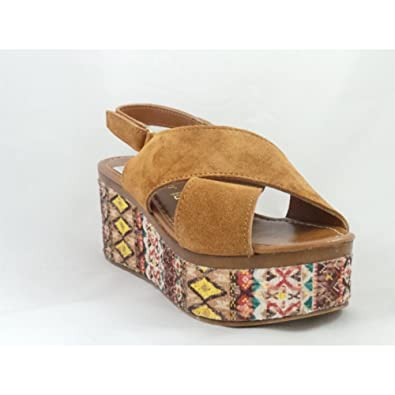2fcc473b389a MARCO TOZZI 28385 Paduli Tan Suede Open-Toe Wedge Sandal  Amazon.co.uk   Shoes   Bags