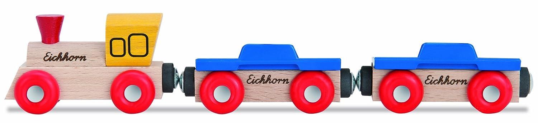 Modelli//Colori Assortiti 2 Pezzi Binari Eichhorn 100001361 Locomotiva con 2 Vagoni 2 Auto 1 Pezzo 2 Personaggi
