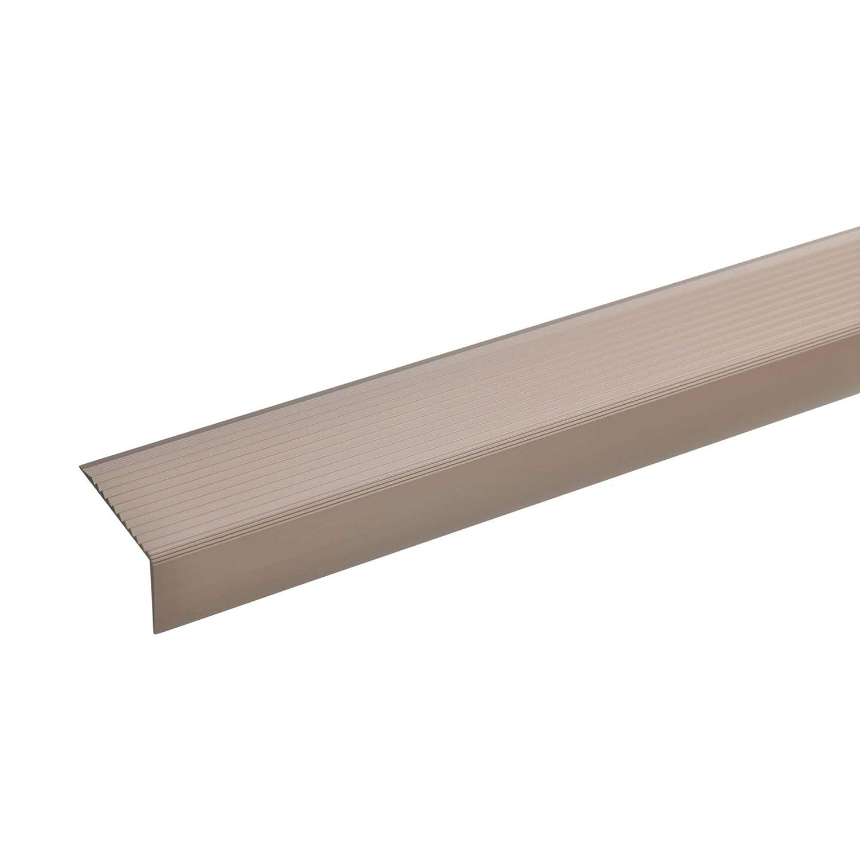Treppenstufen-Profil aus Alu I Treppenprofil bronze dunkel I Rutschhemmend I Robust I Leichte Montage I Treppenkanten-Profil 20x40mm acerto 100cm 51032 Aluminium Treppenwinkel-Profil