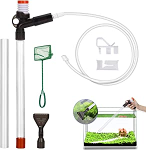 Lukovee Fish Aquarium Cleaner, Gravel Cleaner Fish Tank Water and Sand Changer Device with Stressless Syphon Starter Water Flow Control Clamp Long Flexible Pipe Perfect for Cleaning Small Fish Tanks