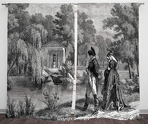 Satin Window Drapes Curtains [ Vintage,Historical French Revolution Sketch with Napoleon and Woman in Garden Artwork,Dark Grey Black ] Window Curtain Window Drapes for Living Room Bedroom Dorm Room Cl