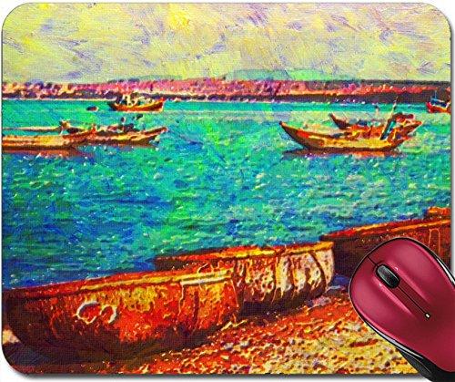 Liili Mousepad original oil painting of boats mui ne beach vietnam Photo - Mui Logo Mui