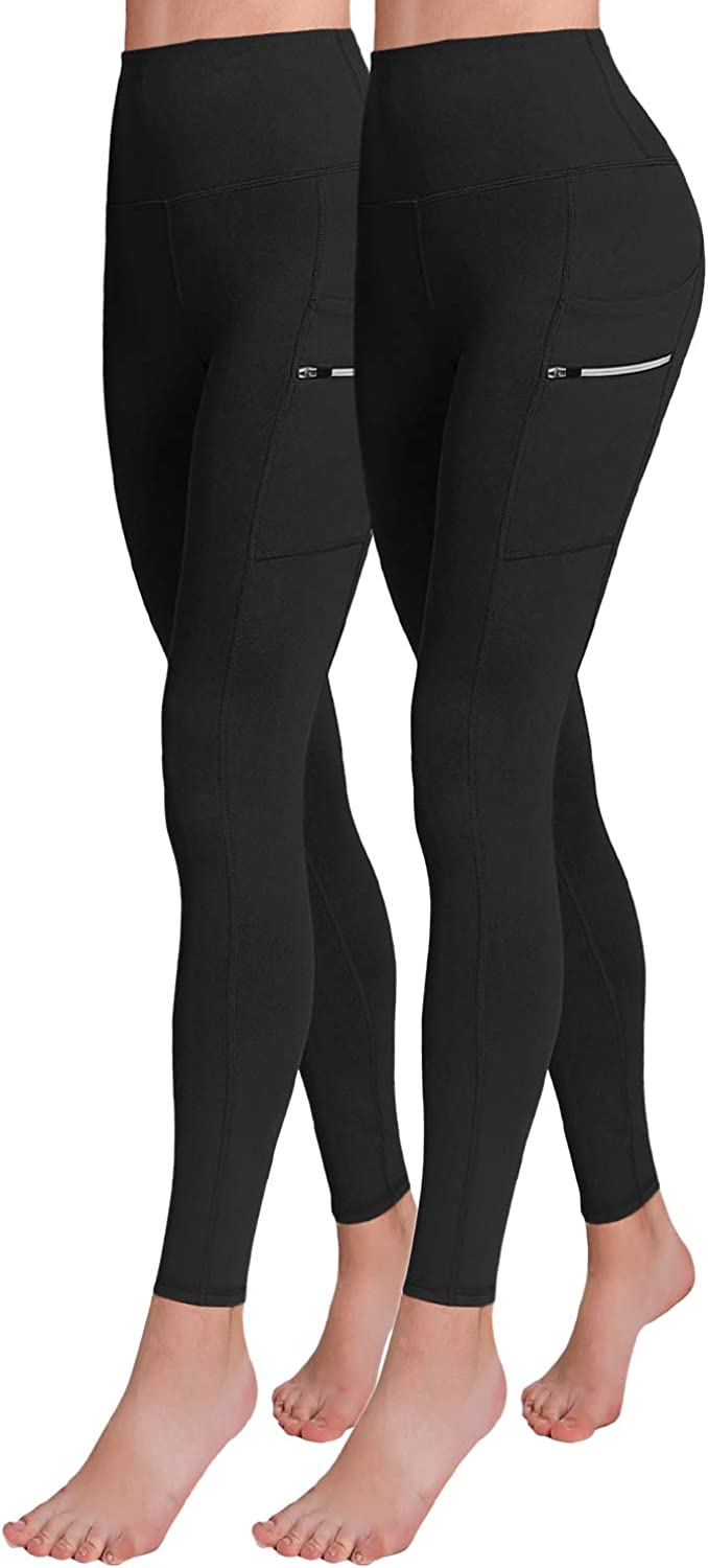 ODODOS Womens High Waisted Tummy Control Workout Pants Full-Length Leggings with Dual Pockets