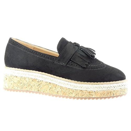 Angkorly - Zapatillas Moda Mocasines Alpargatas Slip-on Mujer Perforado Fleco Pompom Plataforma 5 CM - Negro FD299 T 39: Amazon.es: Zapatos y complementos