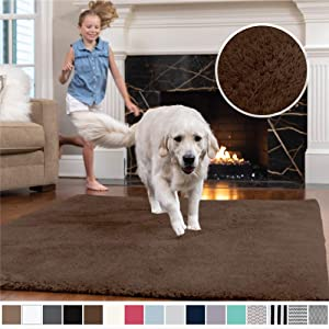 Gorilla Grip Original Faux-Chinchilla Area Rug, 7.5x10 Feet, Super Soft and Cozy High Pile Washable Carpet, Modern Floor Rugs, Luxury Shag Carpets for Home, Nursery, Bed and Living Room, Brown