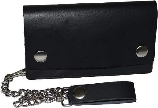 Sale Mens Genuine Leather Large Black Wallet with Chain Biker Trucker