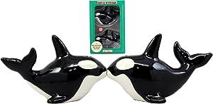 Ebros Gift Marine Life Orca Killer Whale Salt & Pepper Shakers Ceramic Magnetic Figurine Set 4.5