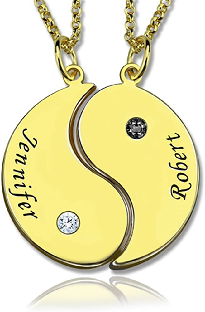 Junmei 2pcs//Set Yin Yang Necklace,Personalized Sterling Silver Name Necklace-Engraved 2 Names and Birthstones for Couple Lover