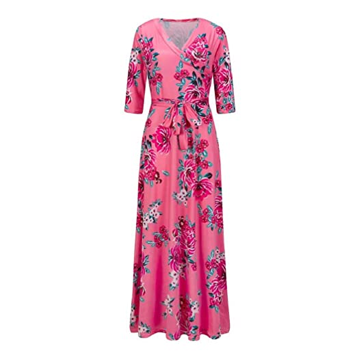 Womens Dresses, ShenPr Clearance 3/4 Sleeve Floral Print Waist Bandage Casual Long Dress