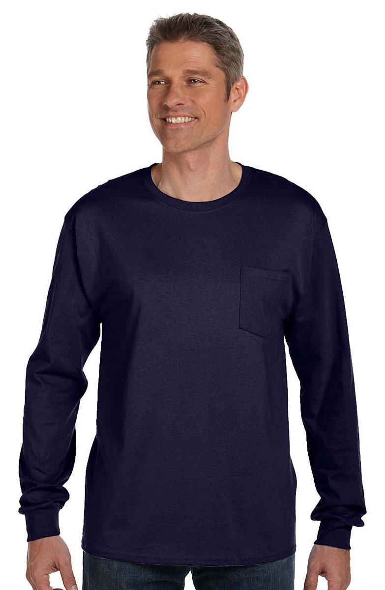 Hanes mens 6.1 oz. Tagless ComfortSoft Long-Sleeve Pocket T-Shirt(5596)-NAVY-L