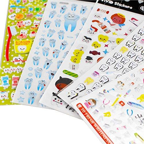airgoesin 5-Sheet Molar Shaped Cartoon Tooth Paper Stickers Label Dentist Dental Gift