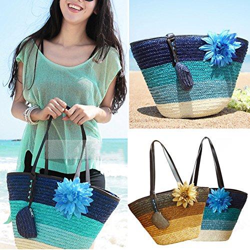 de tout plage Sac sac fourre Kaki kaki paille tricot main Fashion de de blé sac à colorées à Bohème rayures 5ngzX1Fg