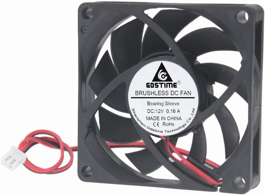GDSTIME 70mm x 70mm x 15mm 12v Brushless DC Cooling Fan