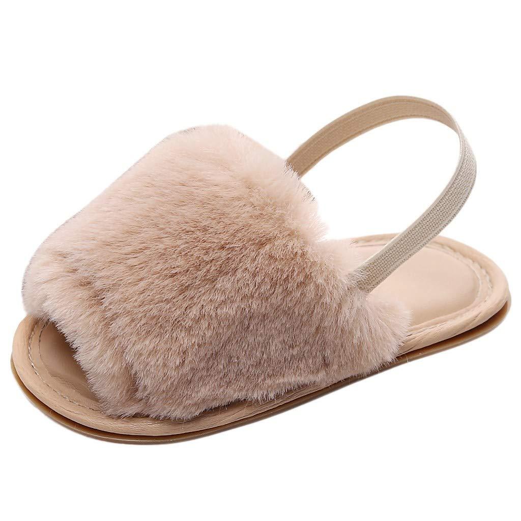 WINJIN Chaussure d/ét/é Enfants Filles Pantoufles Mules Sandales Plates B/éb/é Filles Gar/çon Chaussons Premiers Pas Slipper Tongs Faux Fourrure Flat Slipper Flip Flop Sandal Claquette o /à 24 Mois