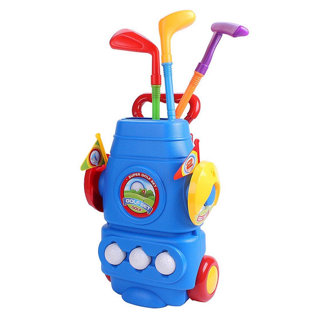 RuiyiF Golf Toys Clubs Set for Kids Toddlers Boys Girls with 3Golf Balls, 3Golf Clubs, 2Ball Holes,1Trolley Case B0796QTD7P