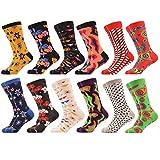 WeciBor Men's Funny Casual Combed Cotton Novelty Crazy Socks 12 Packs