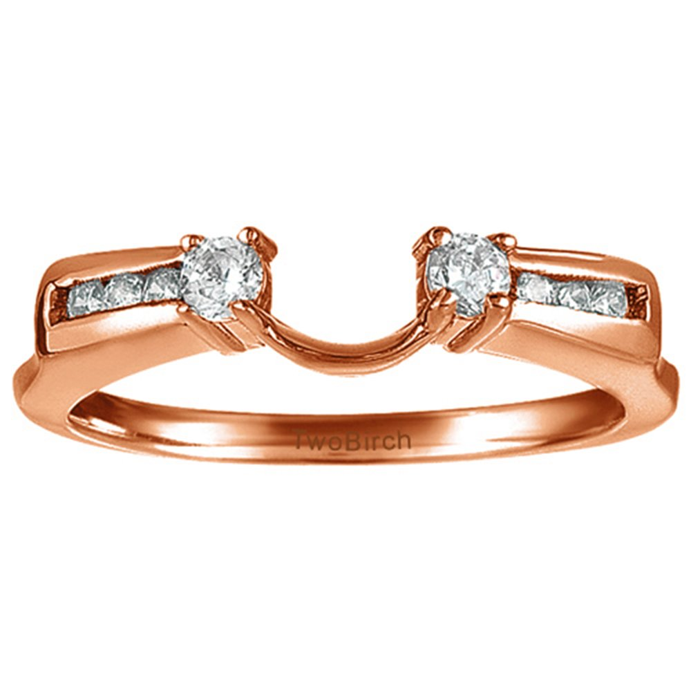 0.31Ct Cubic Zirconia Wrap Ring Mounted in Rose Plated Sterling Silver Size 3 to 15 in 1//4 Size Interval