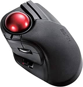 ELECOM 2.4GHz Wireless Finger-operated Large size Trackball Mouse 8-Button Function with Smooth Tracking, Precision Optical Gaming Sensor (M-HT1DRBK)