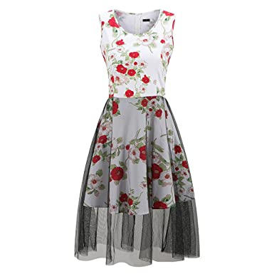 Vintage Dresses Sleeveless Retro Print Summer Dress Women Retro Party Dress Female Rockabilly Fall Swing Dress