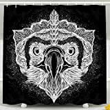 KIOAO Farmhouse Shower Curtain Liner Fabric,White Head Phoenix The Black Background Sketch Print
