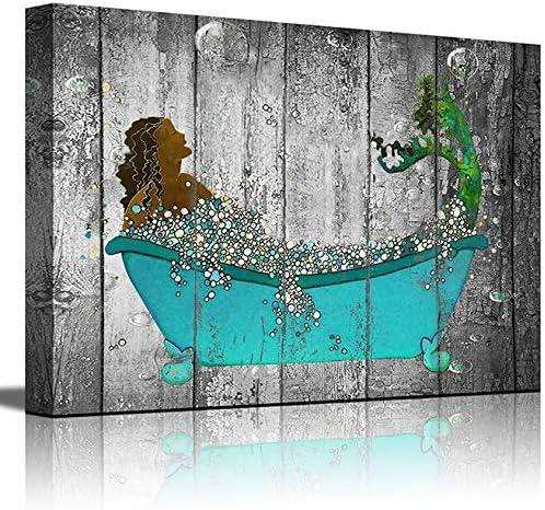 Hang Your Towel Sign Mermaid Bathroom Wall Decor Under the Sea Art Bathroom Kids Decor African American Girl Wall Art Mermaid Canvas Art