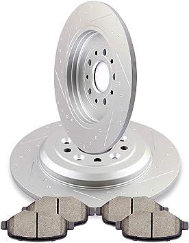 Front+Rear Drill Slot Brake Rotors /& Ceramic Pads For 11-15 Edge 11-13 MKX