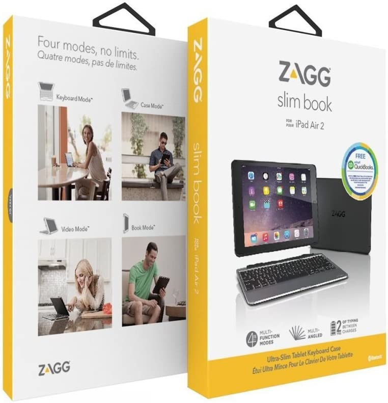 Black ZAGG Slim Ultrathin Book Case Hinged with Detachable Backlit Keyboard for Apple iPad Air 2
