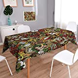 Vanfan Tablecloth Waterproof Polyester Polyester Table Doodles Style Bingo Excitement Checkers King Tambourine Vegas Bathroom Tablecloth for Wedding/Party 60''x126''